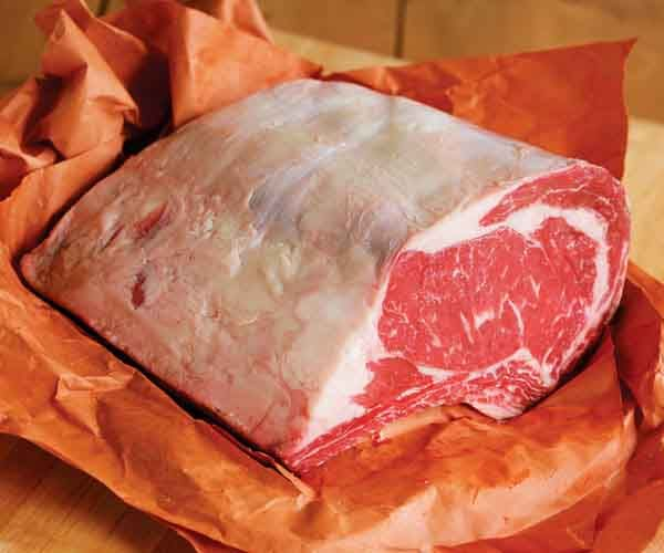 How to Buy Prime Rib....The chuck end (aka the large end or second cut) is bigger in overall size, but it has a smaller rib eye, with several thick layers of fat interspersed between portions of lean meat.  Prefers a three-bone rib roast cut from the loin end—called the small end or first cut. It's smaller in overall size, but it has a larger rib eye, meaning more meat and less fat.