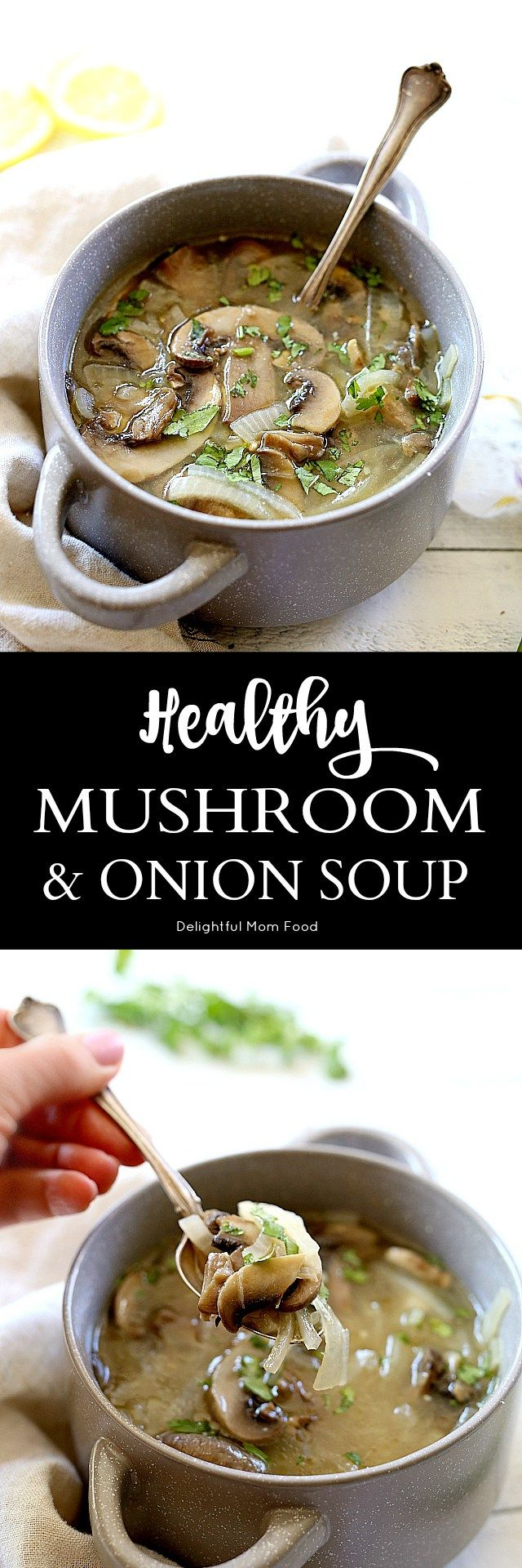 Easy sauteed mushroom onion soup made in one pot! Similar to Japanese onion soup with a few less ingredients. Double the recipe and save the leftovers as a slow cooker chicken marinade!