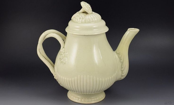 Antique 1780s English Strap-Handled Teapot, Estate of J. Blum, Porcelain Expert some light flakes and chips on the spout, the finial, and the handles. There are some minor losses to the glaze. The spout has been professionally restored. There are no cracks.  USA  BIN  £489