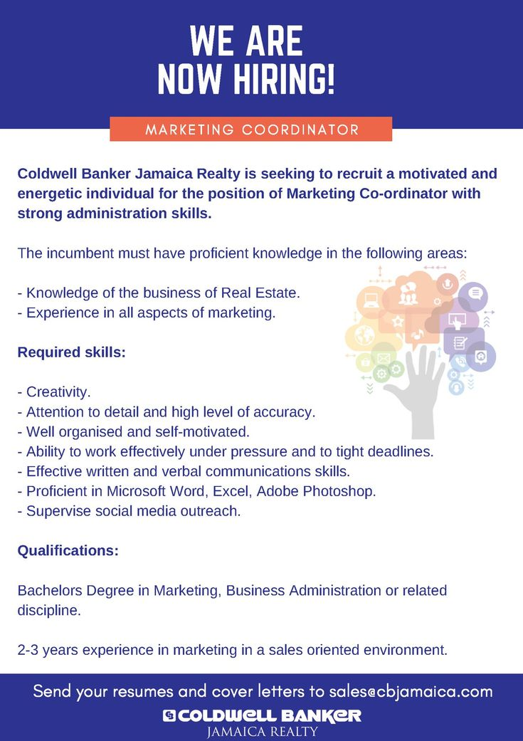Coldwell Banker Jamaica Realty is seeking to recruit a motivated and energetic individual for the position of Marketing Coordinator with strong administration skills.  Deadline: March 29, 2018  Email: sales@cbjamaica.com