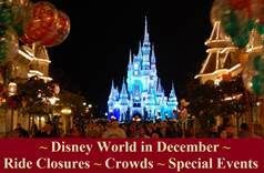 Disney World in December - Ride Closure & Refurbishments and Special Events Information in one easy list. Also includes information about Mickey's Very Merry Christmas Party.