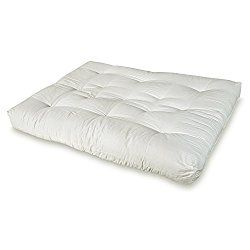 Artiva USA Home Deluxe 8-Inch Futon Sofa Mattress with Inner Spring Made in US Best Quality for Long-lasting Use, Full, Solid, Natural/ Off-white