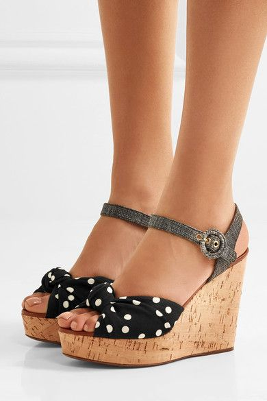 Wedge heel measures approximately 80mm/ 3 inches with a 30mm/ 1 inch platform Black and white cady, gray raffia Buckle-fastening ankle strap Made in Italy