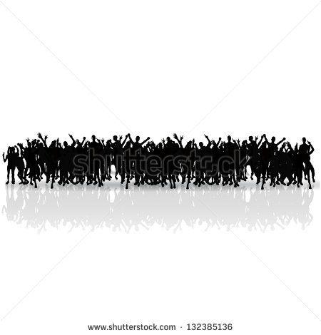 black silhouettes crowd. vector design