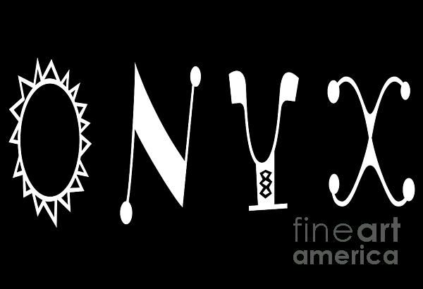 Onyx - Black - Color - Letter Art by Barbara Griffin. Graphic letter art, white font on black background.