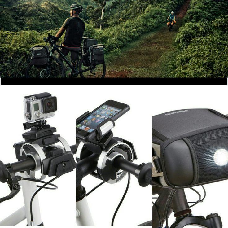 Thule pack n pedal - suportul ingenios si simplu care poate fixa simultam doua accesorii precum telefonul, camera de actiune, lanterna, borseta, etc. www.alfamobility.ro