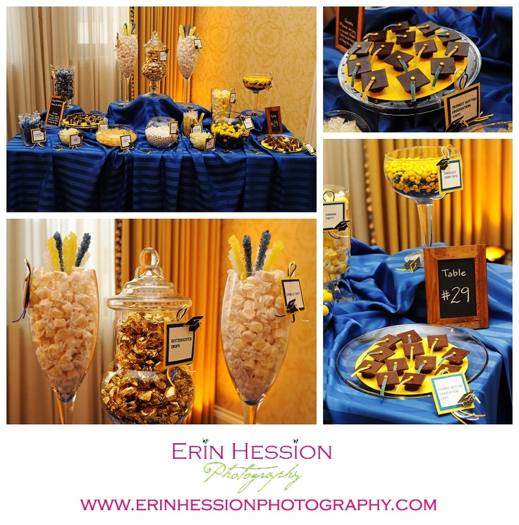 Blue And Gold Graduation Candy Buffet Graduation Party