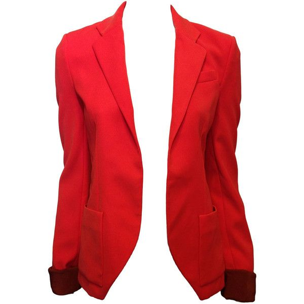 Pre-owned Balenciaga Orange Red Silk Tailored Blazer ($749) ❤ liked on Polyvore featuring outerwear, jackets, blazers, tops, coats, balenciaga jacket, tailored blazer, balenciaga, silk jacket and tailored jacket