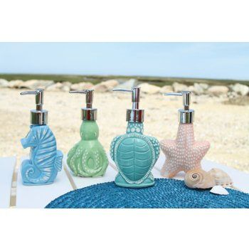 Ceramic Soap Dispensers Great For Beach Themed Kitchen Or Bath Select From Four Styles