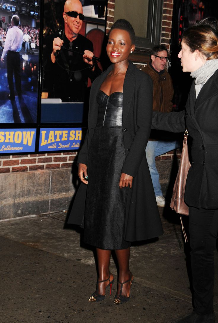 Lupita Nyong'o on The Late Show with David Letterman in a J. Mendel Resort 2014 leather bodice dress, Christian Louboutin pumps,