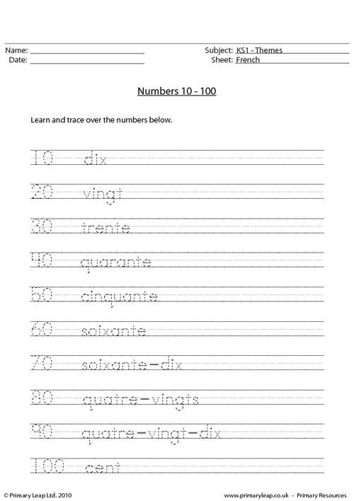french numbers 10 100 worksheet french printable worksheets french. Black Bedroom Furniture Sets. Home Design Ideas