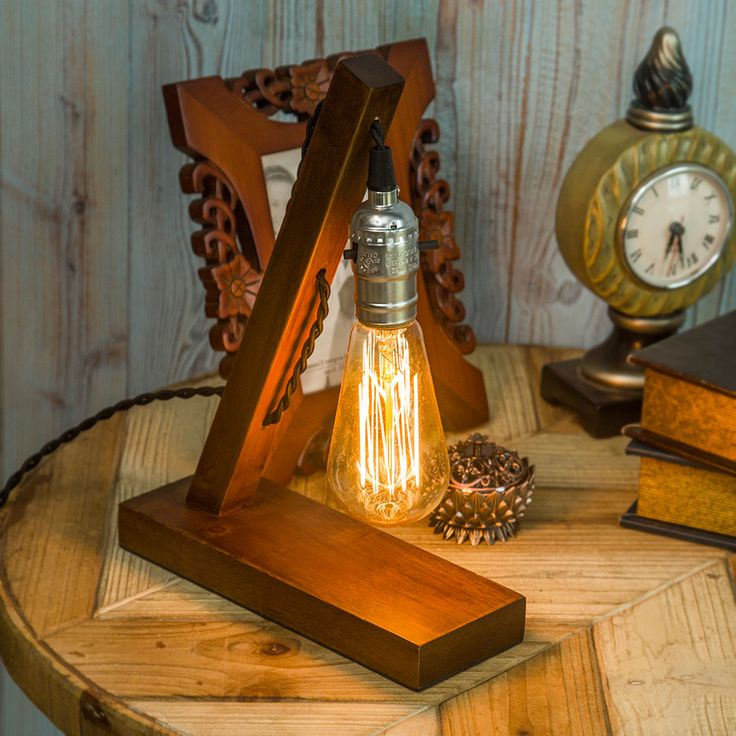 loft vintage e27 holder edison bulb table lamp wood base light brown desk lamp no dimmer