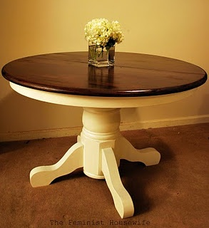 This table, java gel stain on top, distressed ivory on bottom. Chairs to match, seats, java gel stain, rest of chair distressed ivory. Java Gel stainis available at Woodcraft & Rockler stores- use General Finishes store locator at http://www.generalfinishes.com/where-buy