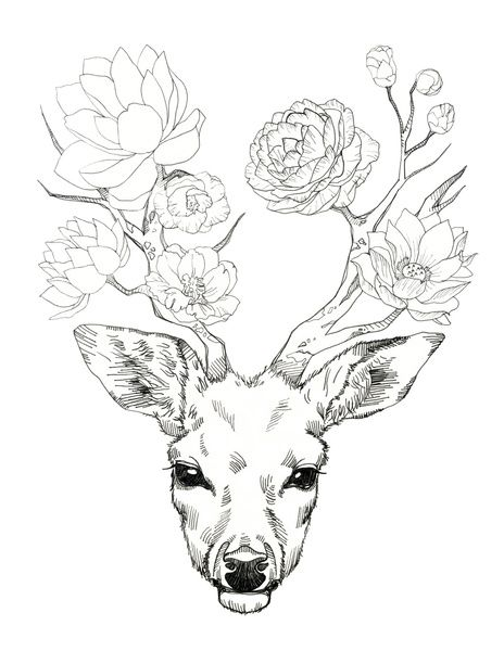 something slightly similar under the boobs. deer head on upper abs, antlers wrap under breasts with flowers wrapped around the antlers and a couple of bees flying around