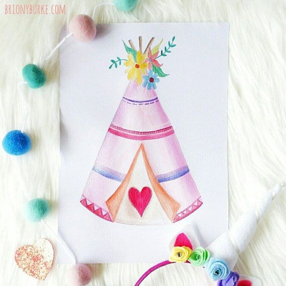 Made-to-order original Teepee Watercolour by BrionyBurke on Etsy