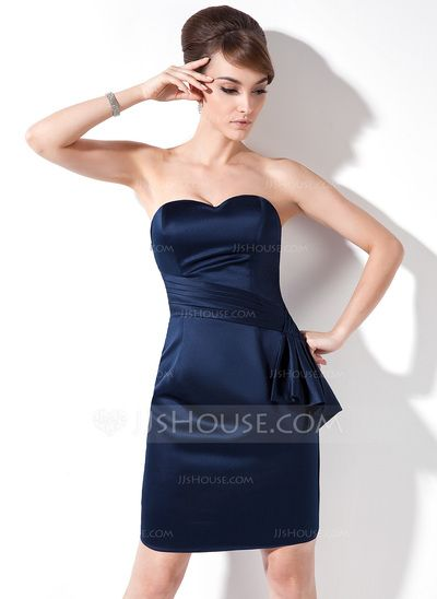 Cocktail Dresses - $89.49 - Sheath Sweetheart Knee-Length Satin Cocktail Dress With Ruffle (008017167) http://jjshouse.com/Sheath-Sweetheart-Knee-Length-Satin-Cocktail-Dress-With-Ruffle-008017167-g17167