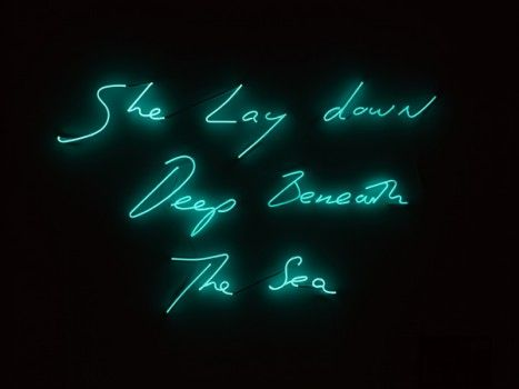 'She Lay Down Deep Beneath The Sea' by Tracey Emin shown at 'Ship to Shore: Art and the Lure of the Sea' at the SeaCity Museum, Southampton.