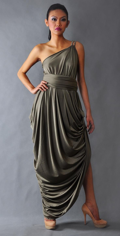 Venus draped toga dress toga dresses for bridesmaid dress for Toga style wedding dress