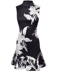 Karen Millen   Foil Print Scuba Dress    Lyst