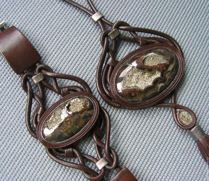 """Купить Комплект из кожи """"Ажур"""" - коричневый, натуральная кожа, натуральный камень, кулон из кожи"""