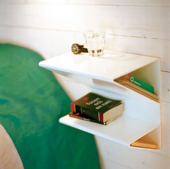 I wold love to do this floaty shelf thing beside my bed, however, there is the issue of a window, and I want a side table I can put a hamper under.