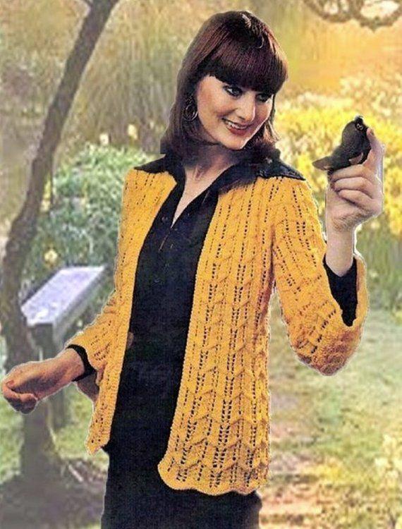 Ladies Sweater 34-38inch Bust Pattern Chevron Pattern Ladies Sweater Knitting Pattern Only. Ladies Jacket Knitting Pattern