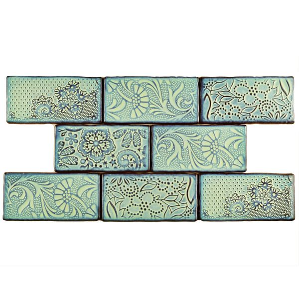 SomerTile 3x6-inch Antiguo Feelings Agua Marina Ceramic Wall Tile (Pack of 8) | Overstock.com Shopping - The Best Deals on Wall Tiles