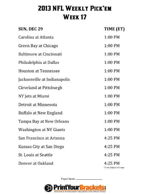 2013 NFL Printable Weekly Schedule | Printable NFL Weekly Schedule Office Pool Week 7