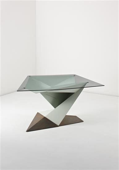 PHILIP MICHAEL WOLFSON Prototype 'Origami' table, 2005  Painted aluminium, acid-patinated steel, glass. 75.2 x 153.7 x 135.9 cm (29 5/8 x 60 1/2 x 53 1/2 in)