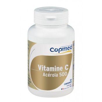 Vitamine c acérola 500 Complément alimentaire à base d'acérola.  Contribue à réduire la fatigue et participe au bon fonctionnement du système immunitaire.