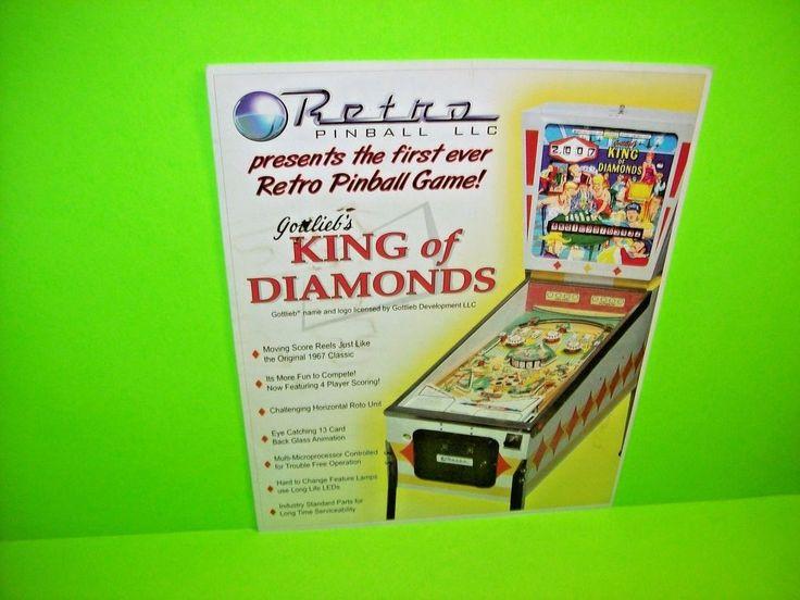 Retro Pinball KING OF DIAMONDS 2010 Remake Flipper Pinball Machine Sales Flyer #RetroGames
