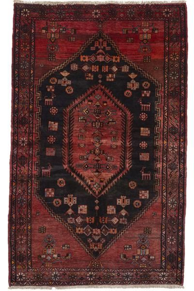 """Hamadan.A Persian one of a kind, hand knotted rug. Coalfield withfiery warm tones in the medallion + boarder. Vivid turquoise + melon accents. Animal imagery. Size - 4' 7"""" x 7' 4"""" Country of Origin - Iran Construction Type -Hand Knotted Fiber - Wool Find out more about Shipping + Returns A BUYER'S GUIDE BREAKDOWN Hand knotted rugs are great for any room in your home. Be ready to embrace some imperfections. Vintage rugs will have somewear and tear as well as a pa..."""