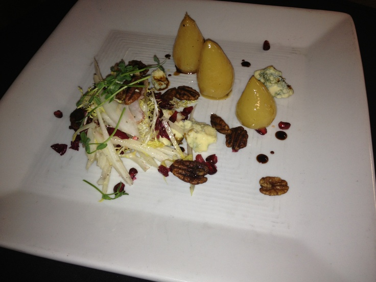 Baby Pears with crisp endive, stilton, spiced pecans and pomegranate ...