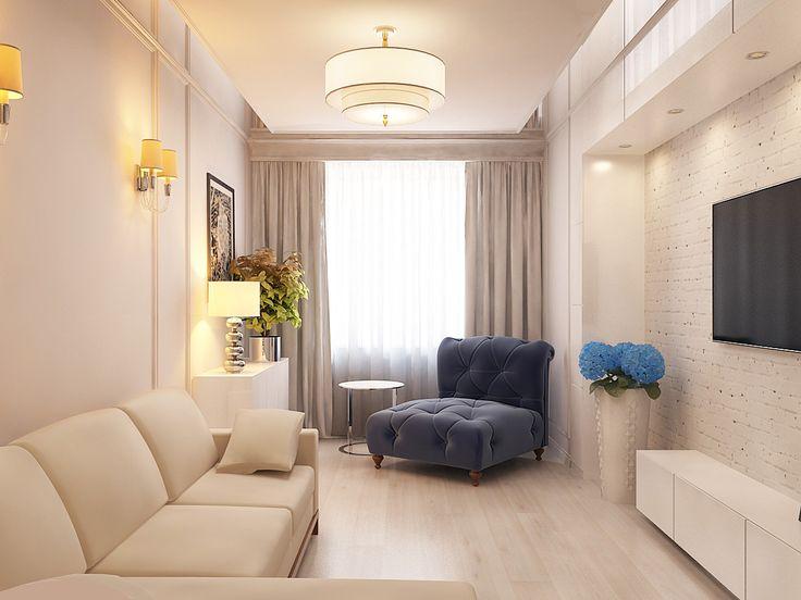 Узкая и маленькая гостиная в однокомнатной квартире