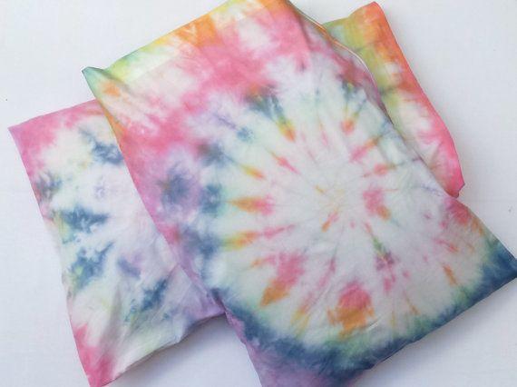 Tie Dye Rainbow Pillowcases x2 Custom Made to Order by AbiDashery