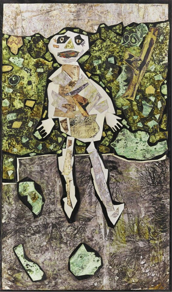 Jean Dubuffet (French, 1901-1985), Georges Dubuffet au jardin [Georges Dubuffet in the Garden], 1955-56. Oil and canvas collage on canvas, 153.7 x 91.4 cm.