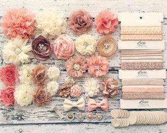 Fascia di fai da te del bambino rendendo Kit - Peach, Beige, avorio, Champagne collezione - fa 20 + fasce! Shabby Chic & Glam fiore fasce