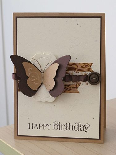 handmade birthday card ... browns ... die cut butterfly ... washi tape ... button ... piercing ...