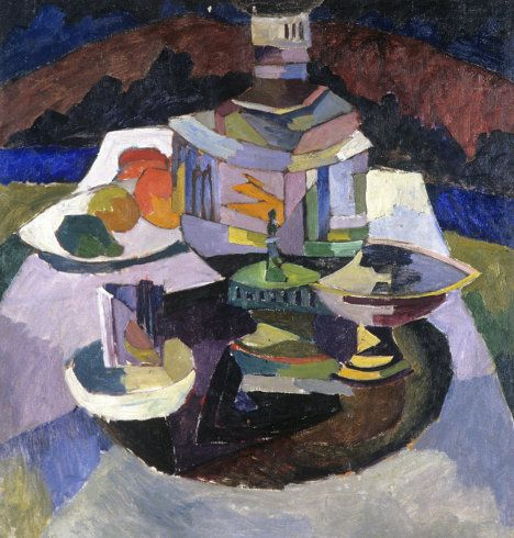 """Lentulov studied at the Penza and Kiev art schools, as well as at the private studio of Dmitry Kardovsky in St. Petersburg. Photo: """"Samovar"""" (1913)"""