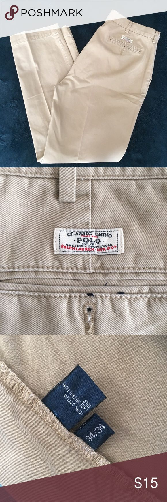 Polo Ralph Lauren Khaki Chino 34x34 Excellent Condition. Never washed, always dry cleaned. They absolutely can be washed regularly, husband just prefers dry clean. Smoke Free. Polo by Ralph Lauren Pants Chinos & Khakis