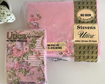 Vintage Stevens Utica Pink Floral King Fitted Sheet and King Pillowcases, New in Package, Dead Stock, New Old Stock, King Sheet Set