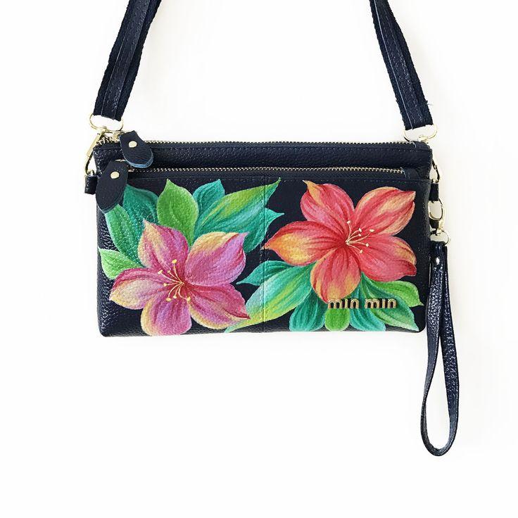 Купить Женская кожаная сумка с росписью Тропические Цветы Меленькая сумочка - Кожаная сумка