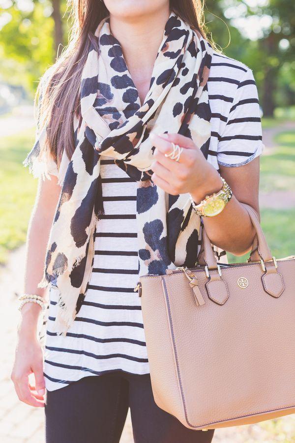 stripe tee, distressed skinnies, leopard scarf // a southern drawl