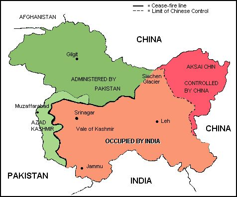 Kashmir map : India and Pakistan have fought at least three wars over Kashmir, India claims the entire state of Jammu and Kashmir and as of 2010, administers approximately 43% of the region, including most of Jammu, the Kashmir Valley, Ladakh, and the Siachen Glacier. India's claims are contested by Pakistan, which controls approximately 37% of Kashmir, namely Azad Kashmir and the northern areas of Gilgit Baltistan.
