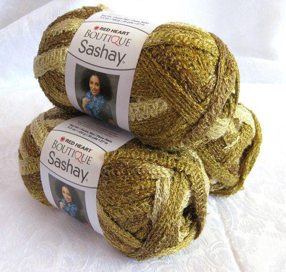 Red heart boutique sashay metallic yarn golden silver ruffling scarf