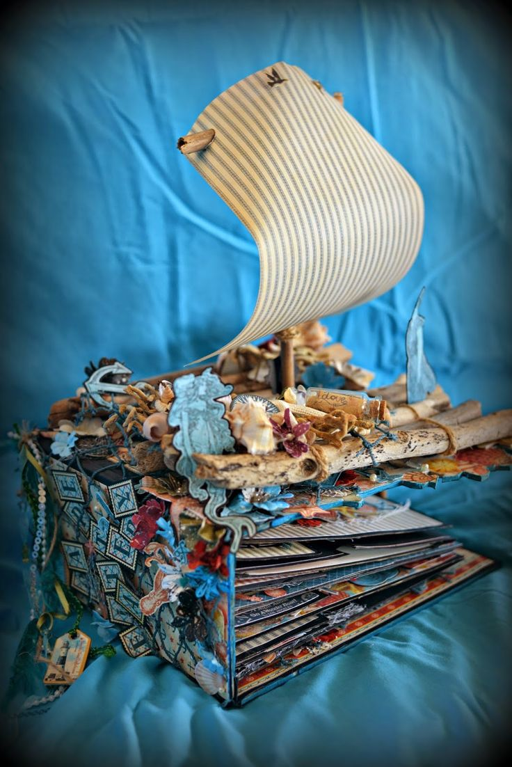 """Graphic 45 """"by the sea"""" paper bag album and altered life raft by abbysartncraft"""