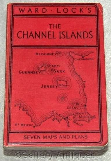 Ward Lock RED GUIDE folding maps CHANNEL ISLANDS jersey 23rd EDITION book c1950