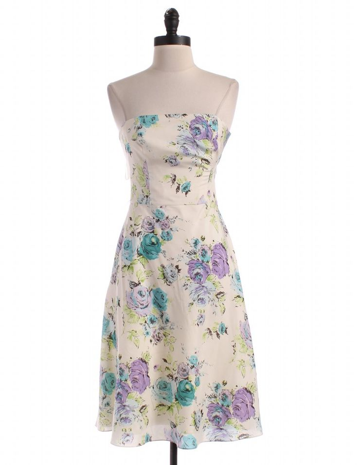 Silk Strapless Floral Silk Dress by Ann Taylor - Size 2 - $18.00 on LikeTwice.com