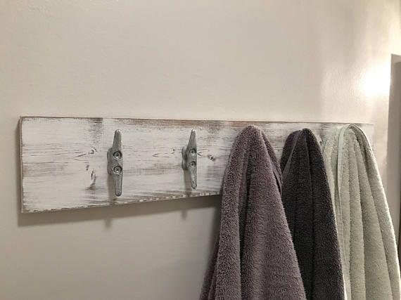 Nautical Coat Rack, Wood Distressed White Coat Holder, Towel Hooks, Cleat  Towel Holder Part 66