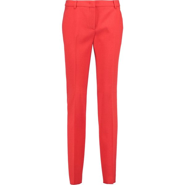 Emilio Pucci Stretch wool-crepe skinny pants ($325) ❤ liked on Polyvore featuring pants, tomato red, red skinny pants, crepe trousers, red trousers, stretch wool pants and emilio pucci